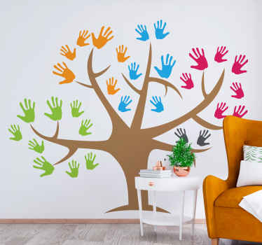 Colorful tree wall art decal with handprinted designs representing it leaves. Perfect for decorating a living room, bedroom, office, etc.