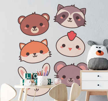 Sets of cartoon animal sticker design illustrating just the head of cats.  It is durable, self adhesive and easy to apply with the use of spatula.