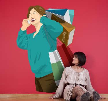 Wandtattoo asiatische Frau beim Shoppen