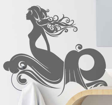 A fascinating mermaid goddess decal for shower screen. The mermaid is illustrated to be rising from the sea with waves. Easy to apply and durable.