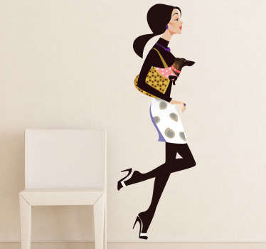 A fashion wall sticker illustrating a very stylish woman running toward her favourite shop with her small dog in her bag. Perfect for shop window decal for retail stores.