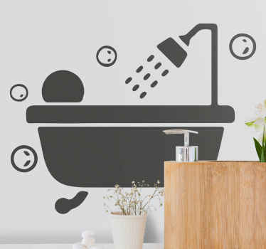 Decorative bubble bath shower screen sticker - Lovely design illustrating a baby on bathtub with running shower and bubbles.