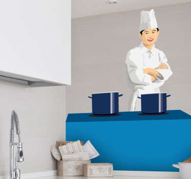 A brilliant kitchen sticker illustrating an Asian chef that specialises in oriental food. Decorative vinyl decal to give your kitchen a new look!