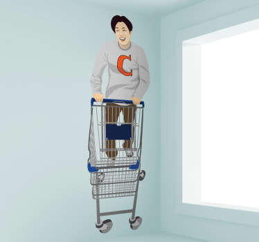 An decorative decal of a young guy doing his shopping with a trolley. This shopping sticker is great to decorate your home and store!