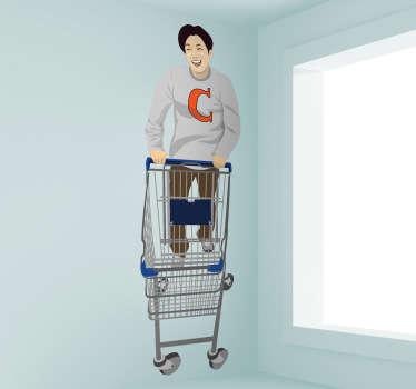 Sticker jongen met winkelwagen