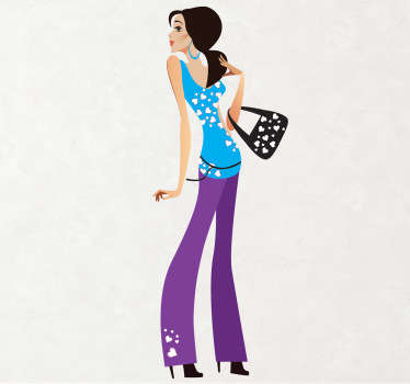 Sticker illustrating a victim of fashion. Ideal decor for your fashion boutique.