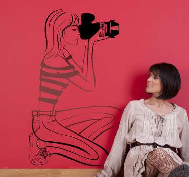 Dame fotograf veggen klistremerke