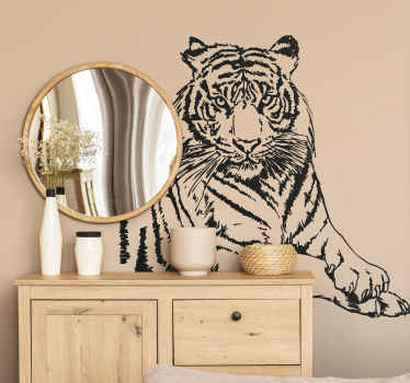 A mono-colour sticker with a beautiful design of a majestic looking tiger.