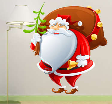 A fun decal of Father Christmas carrying a small bell and a huge sack of presents for the little ones.