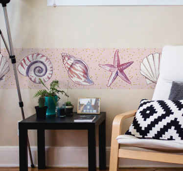 Border sticker with the design of marine life elements such as others, snails, starfish, in lilac color that will combine perfectly with your home.