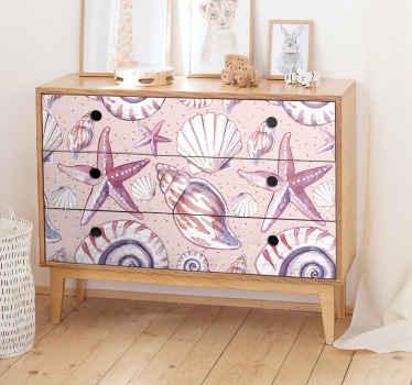海洋カキ、カタツムリ、ヒトデなど、あなたの家の家具を幻想と独占性で満たす家具用のデカール。