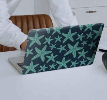 Sticker pour ordinateur portable étoile de mer qui présente un sticker impressionnant d'étoiles de mer détaillées colorées en turquoise