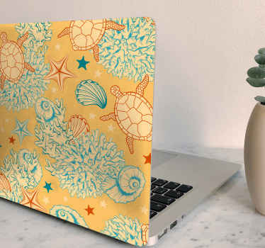 Laptop decal which features a pattern of marine plants and animals such as turtles, shells and coral. Choose your size now.