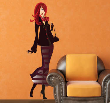 A fashion wall sticker illustrating a lady dressed elegantly ready to go shopping. This shopping decal is ideal to decorate a clothing store.