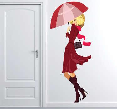Naklejka blondynka w bordo z parasolem
