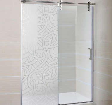 Bathroom Stickers - Original frosted design to decorate your shower. Interesting and unique translucent shower door sticker of many lines interlocking to form an amazing pattern that provides privacy while still letting light in.