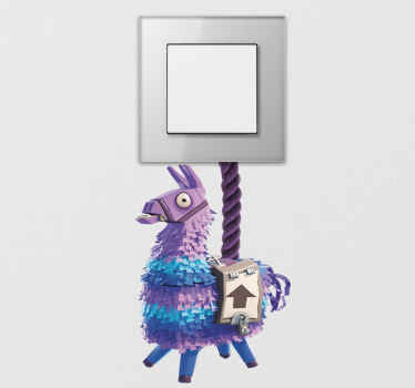 Create some attention on your light switch space with our decorative light switch cover decal. The design is an illustration of a fortnite llama.