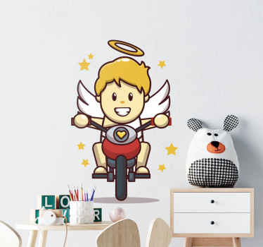 Look at this fun fantasy children illustration decal. Your kid would sure love it, it depicts a little angle with wings riding on a cycle.