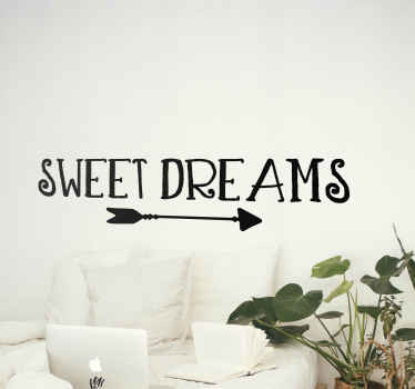 Sweet dreams on arrow text wall sticker - This can be decorated as headboard and on any room in a house. It is easy to apply and durable.