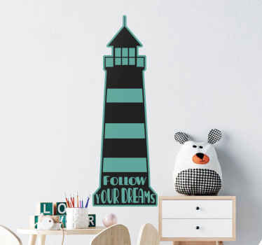 Lovely illustrative children bedroom decal design illustrating a lighthouse.  The product is made with an original vinyl and easy to apply.