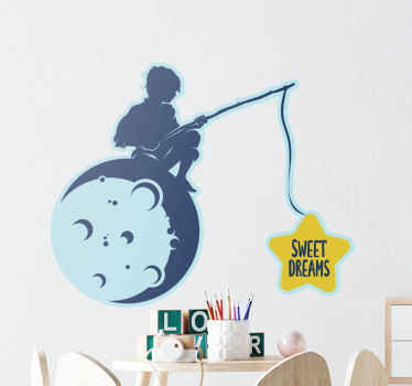 A warm and friendly decorative wall art decal for kids room. The design illustrates a little boy sitting on the moon and fishing!  Easy to apply.