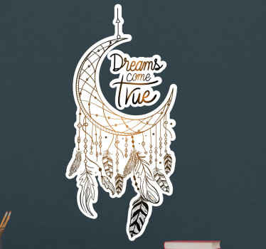 Decorate your space with this ornamental lovely dream catcher wall art decal. It design is inscribed with the text 'Dreams do come true'.