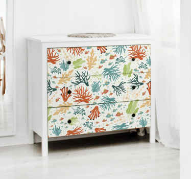 If you love the pretty appearance of under sea then you would not miss this decorative corals and sea fishes furniture decal.