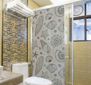 Enjoy your bathroom space as you take a shower, having your shower door covered in this marine life and seashells shower sticker