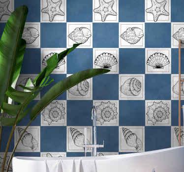 海洋生物と貝殻のタイルステッカー-さまざまな灰色の貝殻のデザインが白いタイルの背景に作成されています。どんなスペースにもぴったりのタイルステッカー。