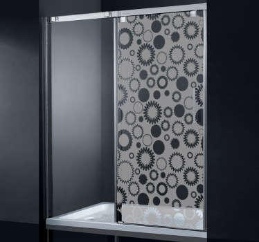 A shower screen sticker with a floral shape design to decorate your shower glass. The geometric shower decal also gives you the privacy you need!