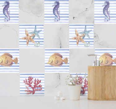 装飾的な海の生物の壁タイルデカールの私たちの素敵なコレクションで決して退屈なスペースはありません。タツノオトシゴ、ヒトデ、サンゴ、甲殻類が含まれています。