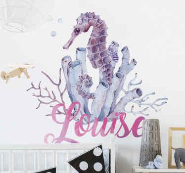 Autocollant personnalisé hippocampe aquarelle pour chambre d'enfants et pour décorer tout autre espace. Fabriqué avec du sticker de qualité