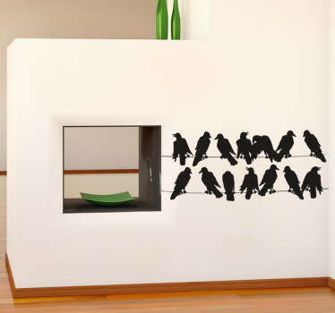 Wall Stickers - Silhouette design of birds on a telephone line. Ideal for decorating the home.
