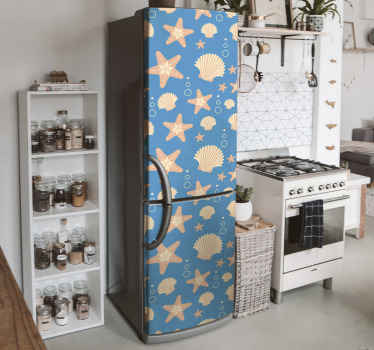 A lovely decorative starfish and under sea  shells fridge decal - The size is customizable to fit any fridge door, made with quality vinyl and durable.