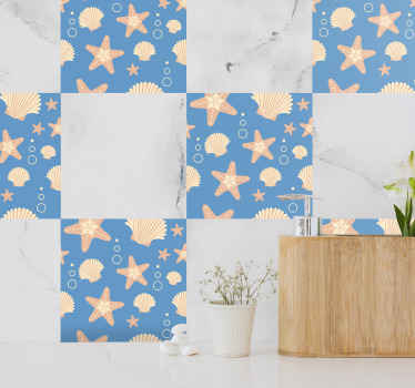 Various fish stars and under sea life tile decal. Lovely collection design of different underwater animals in tile pattern.
