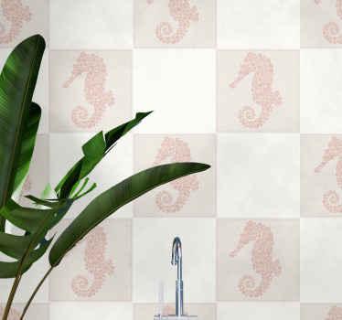 タツノオトシゴタイルデカールのシルエットイラスト。タツノオトシゴのデザインは花柄でモデル化されており、あなたはそれがあなたの空間に素敵に見えるのが大好きです。