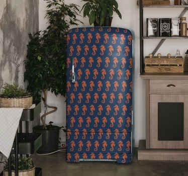 Un sticker pour frigo orange sticker hippocampe pour envelopper l'espace de la porte de n'importe quelle porte de réfrigérateur.