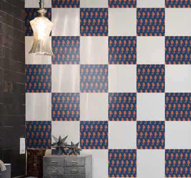 キッチンの壁のスペース、バスルーム、部屋、その他のスペースを飾るためのオレンジ色のタツノオトシゴのタイルのステッカー。必要なサイズで利用でき、簡単に適用できます。
