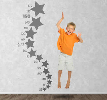 Original colourful design ideal to help measure the growth of your kids. An original decal from our collection of star wall stickers. This monochrome sticker is perfect to stay up to date on how much your child is growing!