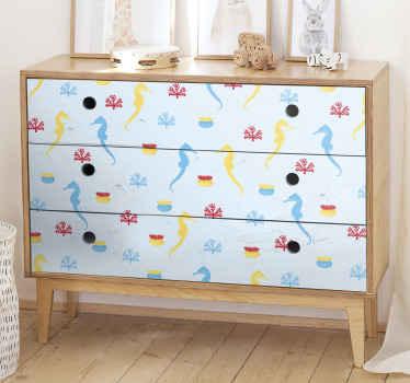 autocolante de cavalo marinho e mobília de coral - contém belos desenhos de cavalos-marinhos e corais coloridos em fundo branco.