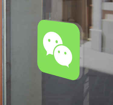 Window sticker with the WeChat logo perfect for you to promote the use of this powerful Chinese app so that everyone can use it and enjoy it.