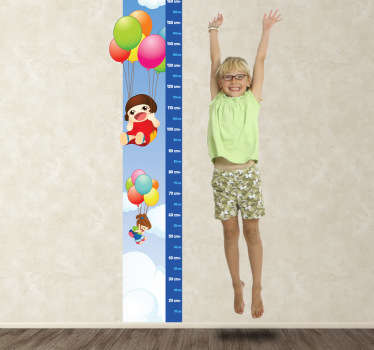 Kids & Balloons Height Chart Decal