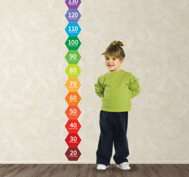 Colourful hexagon height chart wall sticker that will help you keep track of how fast your children are growing! Great geometry decal for the kids. This colourful illustration will provide your child's bedroom or play area with a great atmosphere and a practical way to measure their height.