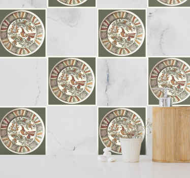 Leave your wall space with an attraction with this decorative bird horezu pattern tile sticker. t is easy to apply and adhesive.