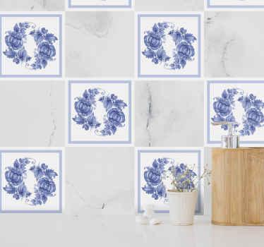 白と青のホレズオーナメントタイルデカール-オーナメントタイルデカールのこの素晴らしい装飾であなたの壁に素敵なタッチを残してください。