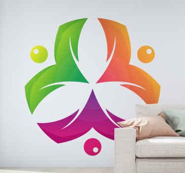 Mooie kleurrijke decoratieve bloemenpatroon muursticker - een abstract ontwerp in de vorm van een bloem! Wacht niet langer en bestel hem nu!