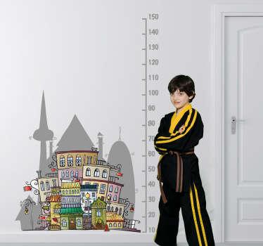 Autocolante infantil medidor cidade