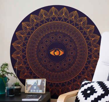 A fantastic ornamental tribal flower patterned sticker with eye. The design imitates a mandala pattern in deep brown colour, you would love it.