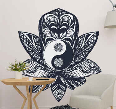 Lovely ying yang pattern decal with flower and abstracts figure design. It is customizable in any size needed, made of quality vinyl and durable.