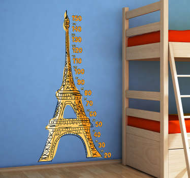 Wandtattoo Eiffelturm Messlatte